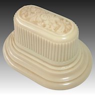 Art Deco Embossed Celluloid Velvet & Silk Oval Hinged Ring Box