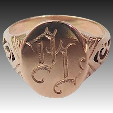 10k Rose Gold Signet Ring Engraved DL Initials
