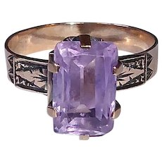 Victorian 10k Rose Gold & Faceted Amethyst Ring