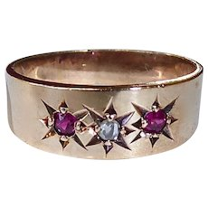 Victorian 10k Rose Gold Diamond & Ruby Baby Ring