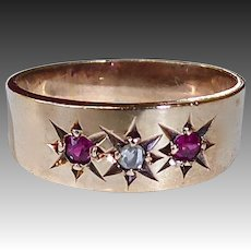 Victorian 10k Rose Gold Diamond & Ruby Baby Ring