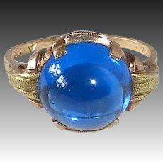 10k Rose & Yellow Gold Faux Sapphire Retro Ring