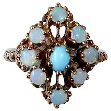 10k Opal & Turquoise Cluster Ring c1960s