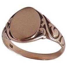 Victorian 10k Rose Gold Carved Signet Ring