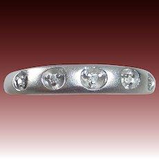 10k Brushed White Gold Ring 5 Inset Diamonds