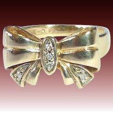 10k Dimensional Bow Ring w Diamonds