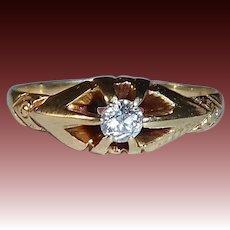 Edwardian 14k Mine Cut Diamond Ring