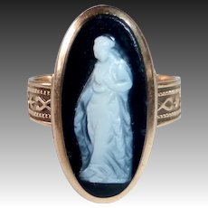 Antique Victorian 14k Rose Gold Full Figure Hardstone Cameo Ring