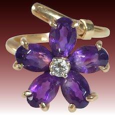 14k Amethyst Flower Bypass Ring w Diamond
