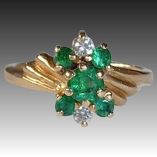 14k Diamond & Emerald Ring