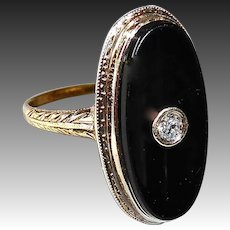 14k Edwardian Onyx Ring w Inset Diamond