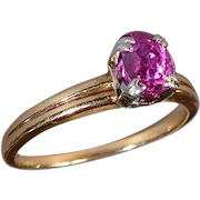 14k Ruby Solitaire Ring c1940s