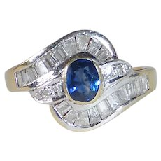 14k Yellow & White Gold Ring w Sparkling Diamonds & Sapphire