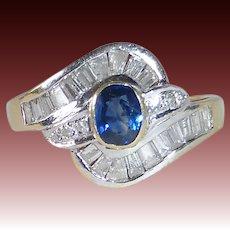 14k Yellow & White Gold Ring w Sparkling Diamonds & Sapphire