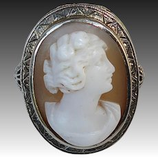 Antique 14k Edwardian Filigree Cameo Ring