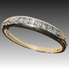 14K Yellow & 18k White Gold Petite Art Deco Diamond Band Ring