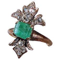 15k Georgian Emerald & Rose Cut Diamond Fleur-de-Lis Ring