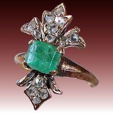 15k Georgian Emerald & Rose Cut Diamond Fleur-de-Lis Ring