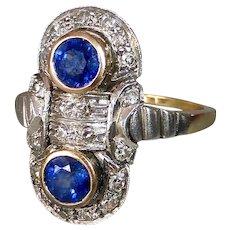 18k Art Deco Sapphire & Diamond Ring