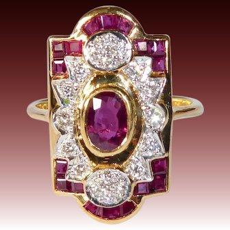Art Deco Revival 18k Diamond & Ruby Ring