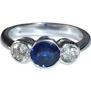 Classic 18k White Gold Ring Diamond & Sapphires