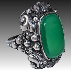 Arts & Crafts Ornate 830 Silver Chrysoprase Ring
