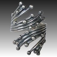 Beau Sterling Silver Seven Strand Dotted Bypass Ring
