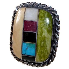 Native American Pawn Sterling Ring w Inlay Stone