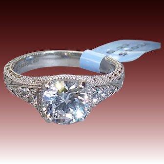 Silver Alloy Salesman's Sample Cubic Zirconia Ring