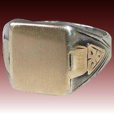 Art Deco Sterling & 10k Signet Ring