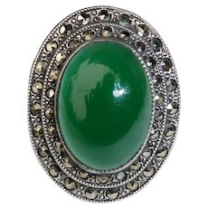 Art Deco Sterling Chrysoprase & Marcasite Ring