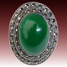 Art Deco Sterling Chrysoprase & Marcasite Ring