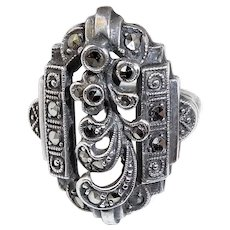 Art Deco Sterling & Marcasite Ring