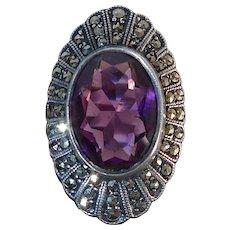 Art Deco Uncas Sterling & Marcasite Ring Amethyst Glass Jewel