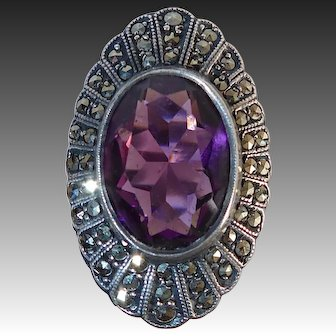 Art Deco Uncas Sterling & Marcasite Ring Amethyst Glass Jewel