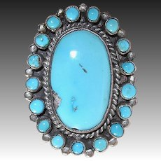 Native American Zuni Pawn Coin Silver Large Ceremonial Turquoise Ring