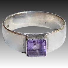 Sterling Wide Band Ring with Square Amethyst