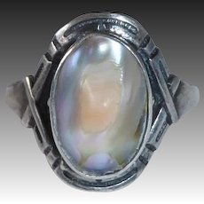 Arts & Crafts Sterling Abalone Blister Pearl Ring