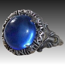 Sterling Ring w Sapphire Blue Glass Cabochon