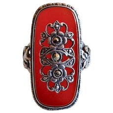 Art Deco Sterling Ring w Marcasite Escutcheon