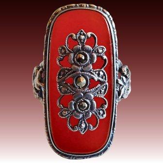 Art Deco Sterling Ring w Marcasite Escutcheon