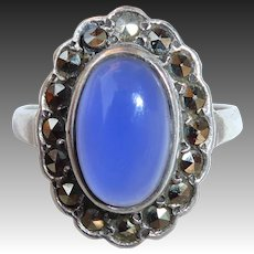 Art Deco Sterling Chalcedony & Marcasite Ring