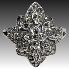 Sterling & Marcasite Domed & Layered Ring