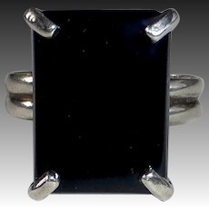Sterling Silver & Rectangular Onyx Cabochon Ring