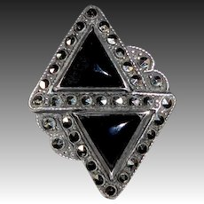 Art Deco Sterling Onyx & Marcasite Ring