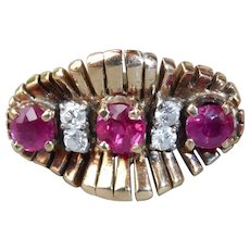 14k Retro Sculptural Ruby & Diamond Ring c1940s
