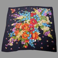 Silk Crepe Vibrant Floral Printed Large Fringed Scarf/Shawl