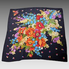 Silk Crepe Vibrant Floral Printed Large Fringed Scarf/Shawl