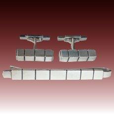 Georg Jensen Denmark Sterling Silver Cufflinks & Tie Bar Set #64