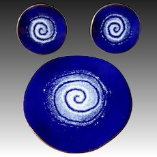 Cobalt Blue & White Enamel on Copper Pin & Earrings Set c1950s